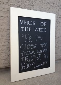 Verse of the Week Chalkboard // Christian home decor by BetsysWood... totally need to make this instead of post it notes all over the place lol