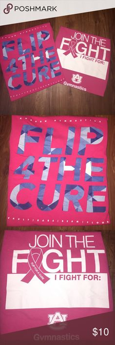"""2️⃣ Flip For The Cure 💗 Auburn Gymnastics shirts 2 t-shirts size Small from Auburn University Gymnastics """"Flip For The Cure"""" events - breast cancer awareness. Both in excellent condition! Shirt with blue writing is Gildan 100% preshrunk cotton. Shirt with white writing is Port and Company 100% cotton - sponsored by Chicken Salad Chick - logo appears on upper back. Tops Tees - Short Sleeve"""