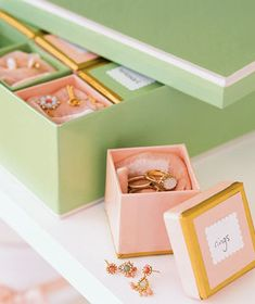 Rather than stuffing jewelry in the top drawer of your dresser, store it in your closet. In the photo, small labeled boxes are housed within a larger container that can be put on a shelf.