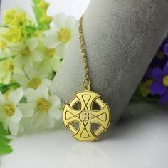 Engraved Celtic Cross Name Necklace Gold