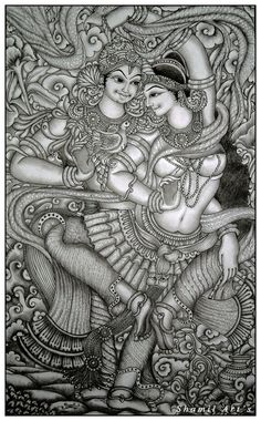 Radha Krishna mural pencil drawing by Shamilart