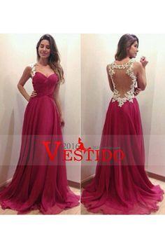 2014 Prom Vestidos Correas una línea longitud del piso con apliques