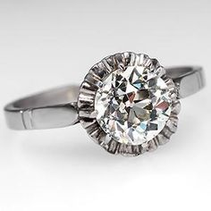 """""""Buttercup""""? Must be the style. Antique 1930's Buttercup Engagement Ring Old Euro Diamond Platinum - EraGem"""