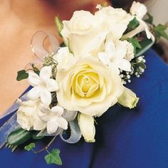 Ivy and stephanotis make this rose tussy a lovely shoulder corsage. Description from pinterest.com. I searched for this on bing.com/images