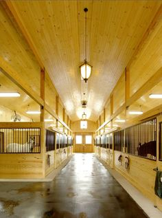 I really like the floor plan of this barn! The high ceilings are a really nice touch. I'm not sure how so much wood would hold up with horses chewing on it but it is beautiful. Barn Stalls, Horse Stalls, Dream Stables, Dream Barn, Horse Barn Designs, Future Farms, Horse Property, Farm Barn, Tallit