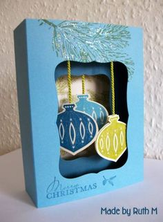 Dangled Decorations Diorama Card by FubsyRuth - Cards and Paper Crafts at Splitcoaststampers Contempo Christmas