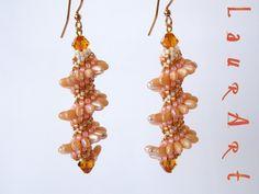 DIY TUTORIAL: orecchini SunRizo/SunRizo earrings (simple beadwork) Celli...