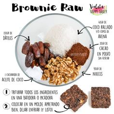 34 ideas for snacks saludables sin horno Vegan Desserts, Raw Food Recipes, Vegetarian Recipes, Cooking Recipes, Healthy Recipes, Healthy Sweets, Healthy Snacks, Healthy Eating, Raw Brownies