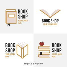 Set of bookstore logos Free Vector Logos Bookstore, Library Logo, Design Plano, World Teachers, Wall Logo, Slogan Design, Book Logo, Education Logo, Shop Signs