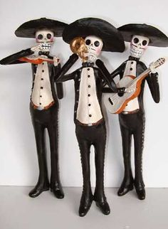 One of a KInd Collectible Skeleton folk art - Paper mache, wood carving, yarn painting and more