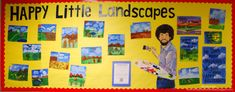"Bob Ross ""Happy Little Landscapes"" bulletin board. I might of pinned this one already but just in case!"