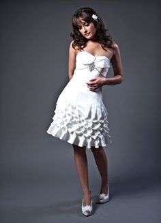 Short wedding dress with origami pleated skirt and top