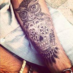 Sugar Skull and Owl Tattoo