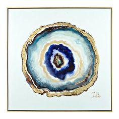 Indigo Watercolor Geode Framed Canvas Art Print | Kirklands