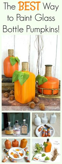 The best way to paint glass bottles into repurposed and upcycled pumpkins and gourds for DIY autumn and fall decor by Sadie Seasongoods / www.sadieseasongoods.com