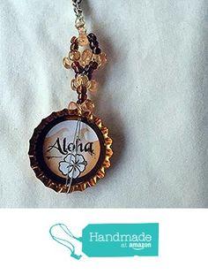 Shiny Orange Cap and Peach Tribead Aloha Upcycled Bottlecap Keychain Charm from…