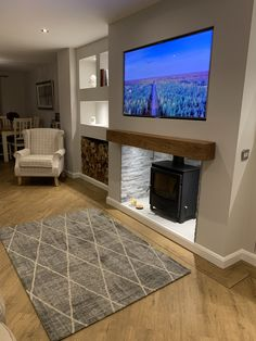Log burner with log store and grey rug Alcove Ideas Living Room, Feature Wall Living Room, Living Room Grey, Home Living Room, Living Room Designs, Living Room Interior, Cottage Living Rooms, Living Room Shelves, Room Ideas
