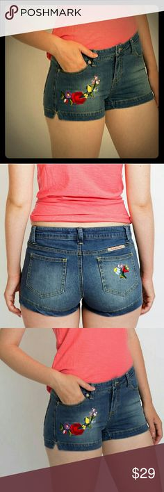 Embroidered denim shorts Super sexy unique, European style denim shorts.High quality denim.98% cotton,2% spandex.Perfect fit.True to size.Floral embroidery on front,branded on the back. Embroidery Dezigns Shorts Jean Shorts