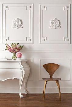 Interiors- Decor - Parisian Inspired Office - style me pretty -moldings