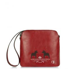 "Dajana Rodriguez - Handbags | Mia Red ""Folk Horses"" - cute little red crossbody bag, real leather embroidered handbag, carmine folk traditional natural leather handbag"