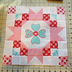 Finished the first block of @jacquelynnesteves BOM #sewsweetsimplicity.  This is going to be for a sweet baby girl.