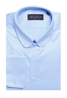 Round Tab Collar Shirt Plain Light Blue   Mark Powell