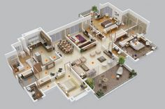 4 Bedroom Apartment/House Plans 4 Bedroom House Designs, 5 Bedroom House Plans, 3d House Plans, Modern House Plans, Small House Plans, Layouts Casa, Bedroom Layouts, House Layouts, Bedroom Ideas