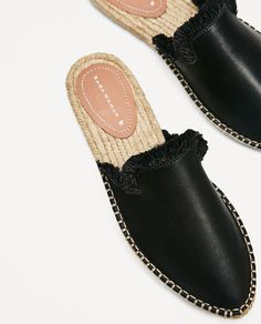 Image 3 of LEATHER SLIDE-ON ESPADRILLES from Zara