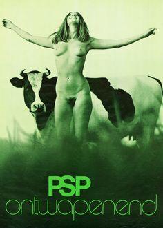 Verkiezingsposter uit 1971 van de Pacifistisch Socialistische Partij (PSP)