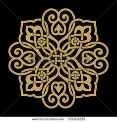 Arabic Floral Ornament . Ocher on black background