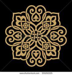 Ocher on black background, Arabic Floral Ornament . Ocher on black background Arabic Floral Ornament . Ocher on black background. Stencil Patterns, Stencil Designs, Pattern Art, Embroidery Patterns, Pattern Design, Motifs Islamiques, Islamic Motifs, Islamic Art Pattern, Mandala Design