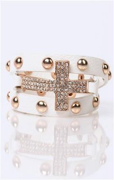 Deb Shops #bracelet with stone #cross and #studs