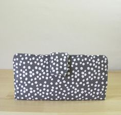 wallet, bifold clutch in dots - grey and pool blue - cotton handmade women's wallet