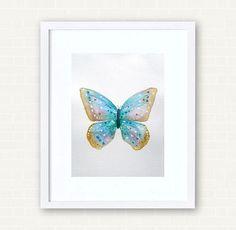 """Aquarelle originale papillon """" Papillon d'été """" 15 x 21 cm. : Peintures par bluedreams"""