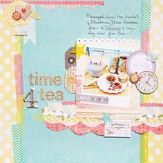 yellow dot, other papers- Dear Lizzy Heritage Scrapbook Pages, Scrapbook Layouts, Basic Grey, Layout Inspiration, Blue Backgrounds, Scrapbooks, Washi, Digital Scrapbooking, Bliss
