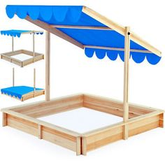Sandbox 120x120cm - Sand pit with adjustable roof -outdoor games sunshade