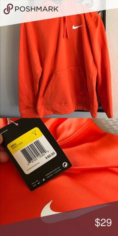 Mens NWT Orange Nike Hoodie Size Small. New with Tags. Super cozy warm. The inside is super soft!! Nike Shirts Sweatshirts & Hoodies
