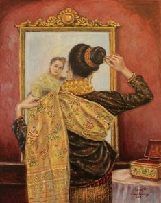 Lao Lady Painting - Elegance And Grace by Sompaseuth Chounlamany Laos Culture, Thailand Art, Indonesian Art, Thing 1, Brown Art, Thai Style, All Poster, Chinese Art, Old Pictures
