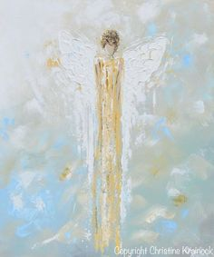 """Angel of Light"" Fine Art Giclee Print of original art abstract angel painting gold guardian angel vintage white blue green yellow home decor wall art Christine"