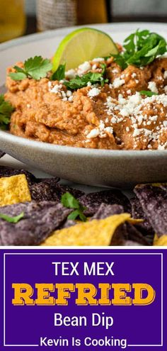 This easy refried bean dip is full of flavor and quick to make in a few minutes! Make this Mexican dip recipe to serve at your next gathering. Healthy Recipes On A Budget, Vegetarian Recipes Easy, Healthy Dinner Recipes, Snack Recipes, Snacks, Party Recipes, Summer Recipes, Delicious Recipes, Cooking Recipes