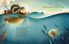 Illustration Fish Fisherman and the Fish by Maciej Szymanowicz, via Behance Children's Book Illustration, Digital Illustration, Book Illustrations, Painting Of Girl, Whimsical Art, Book Design, Character Design, Book Layouts, Behance