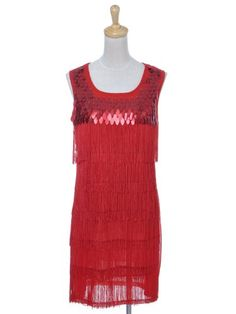 Anna-Kaci S/M Fit Vixen Red Sequined and Fringed « Impulse Clothes