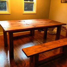 Rustic Farm Table  Medium Brown Stain by JustTables on Etsy, $285.00