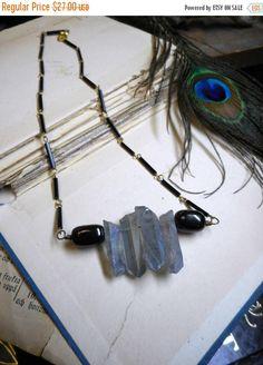 Black Cloud, Silver Lining Necklace. Silvery Pale blue Gray rough raw Quartz & Black Amber. Boho Storm cloud amulet. Harbinger Talisman.