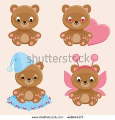 Four different teddy bears characters. Part 2. Cute web icons set. Vector cartoon illustration
