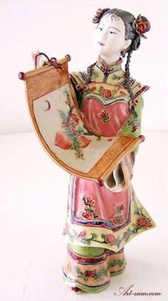 Porcelain Dolls Chinese Ceramic Women Figure Celebration : Art-sam.com