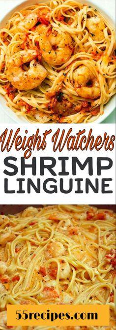 Weight Watchers Recepten Propoints Food Ideas For 2019 Shrimp Linguine, Linguine Recipes, Shrimp Recipes, Fish Recipes, Spicy Shrimp Alfredo Recipe, Chicken Recipes, Weight Watcher Dinners, Weight Watchers Shrimp, Dessert Weight Watchers