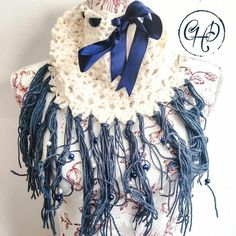 Cream cowl with ribbon, tassels and beads Winter 2017, Fall Winter, Autumn, Limited Collection, Winter Collection, Alpaca Wool, Hand Crochet, Cowl, Tassels