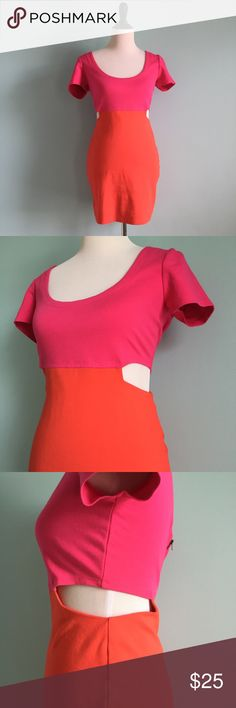 Pink & Orange Cutout Dress Adorable pink and orange short-sleeved Dress with cutouts on sides of waist. In great condition, only worn/washed once. Bronze zipper in back. Stretchy! Size large by Luca couture. Fits more like a medium because it's so tight though, so I'm marking this listing as a medium. Lucca Couture Dresses