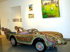 Art Car Museum in Houston, TX. Derby Racer by Larry Fuente :: 1975 Sprite. Mixed Media: Metal, Glass, Mirrors, and Plastics.